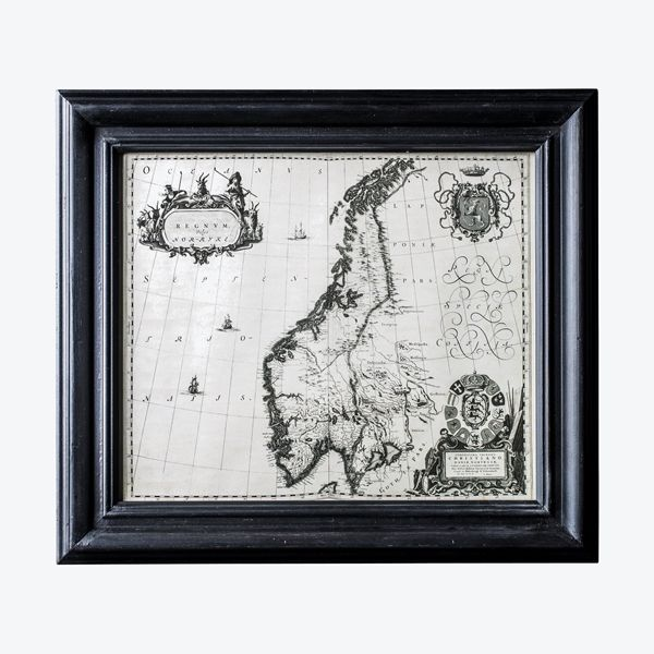 Skandinavia kart bilde m/ramme   Home & Cottage