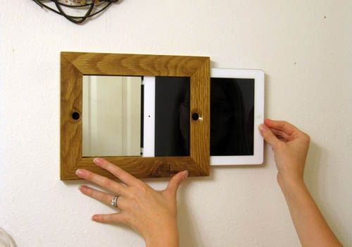 Awesome idea if I ever get an iPad. Picture frame for the iPad that doubles as a bathroom mirror when not in use. Now I can take all of the hairstyles I've pinned into the bathroom with me and see them easily while the iPad doesn't take up any of my precious counter space and get in the way. | followpics.co