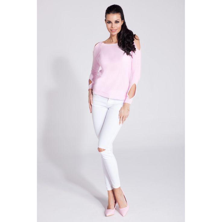 Bluza casual roz de dama cu decupaje decorative 99.90 RON #bluzacasual
