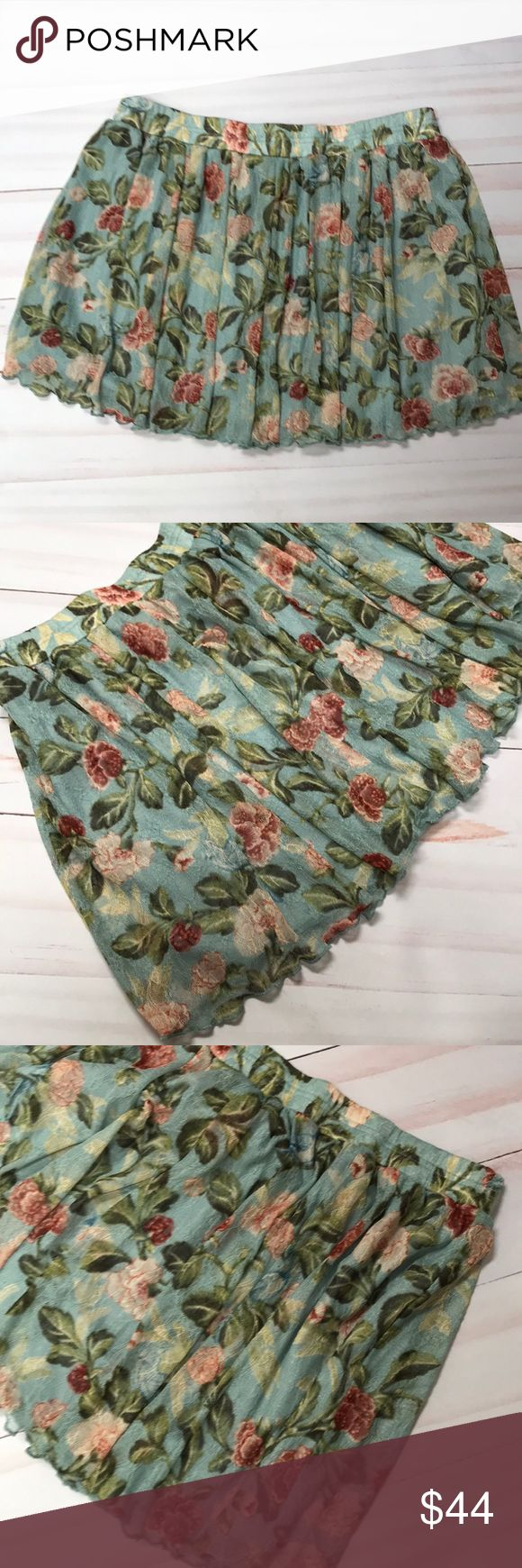 """Denim & Supply Ralph Lauren Lace Floral Skirt XL New Ralph Lauren Denim & Supply pleated lace floral skirt size XL.  The skirt is lined.  It measures laying flat 16"""" across the waist and is 15"""" long. Denim & Supply Ralph Lauren Skirts Mini"""