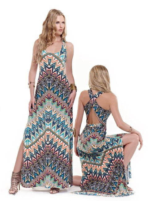 Make a stylish impression in a maxi  dress with geometric designs!