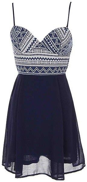 Navy Chevron Dress<br/><div class='zoom-vendor-name'>By <a href=http://www.ustrendy.com/29-n-under>29 N Under</a></div>: