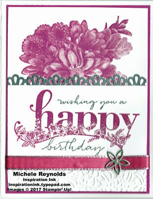 "Happy Wishes Berry Birthday Flowers handmade birthday card using Stampin' Up! products - Happy Wishes Sale-A-Bration 2018 Stamp Set, Heartfelt Wishes Sale-A-Bration 2018 Stamp Set, Petal Pair Textured Impressions Embossing Folder, 3/8"" Metallic-Edge Ribbon, Petal Passion Embellishments, Decorative Ribbon Border Punch, and Foil Sheets.  Directions and measurements on my blog.  By Michele Reynolds, Inspiration Ink."