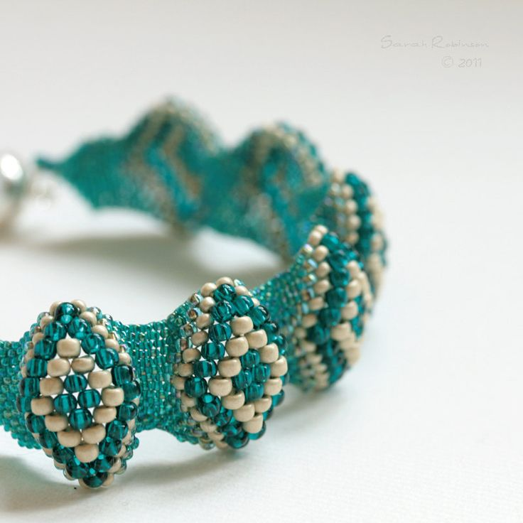 Comfortable and flexible bracelet, handbeaded by me choosing teal and metallic colors. I love teal colors, are very flattering.    These bracelet