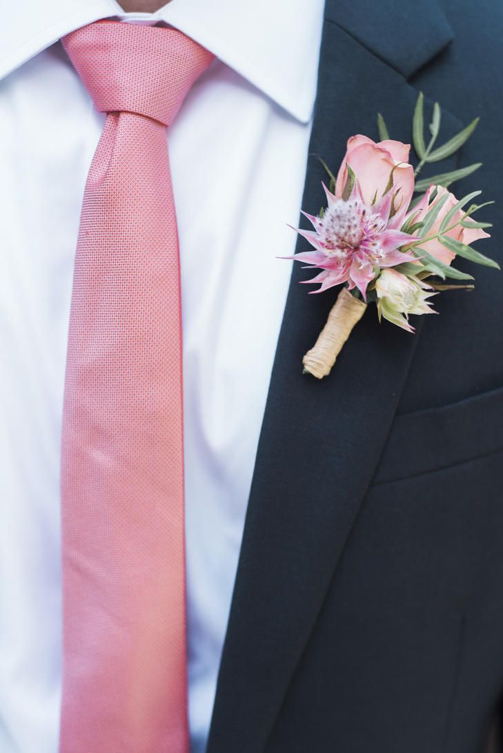 This Groom Paired A Dark Navy Suit With Soft Pink Tie That Coordinated His Colorful Rose Blossom Boutonniere