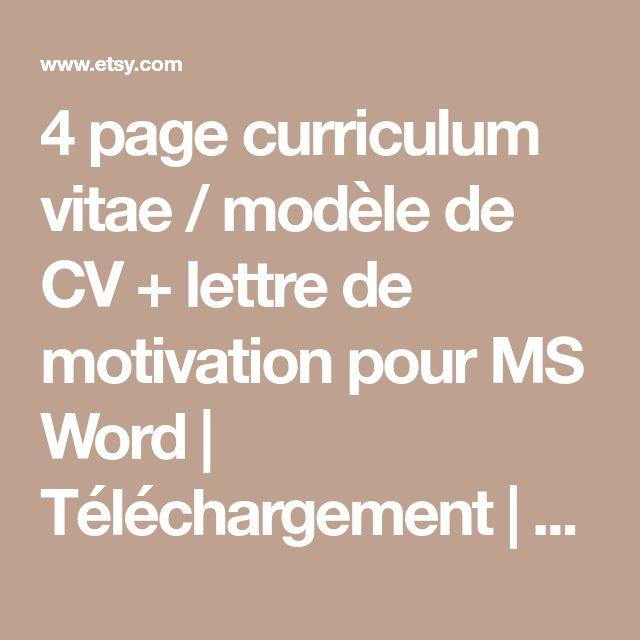 4 page curriculum vitae / modèle de CV + lettre de motivation pour MS Word   Téléchargement   Le «Sensuelle»