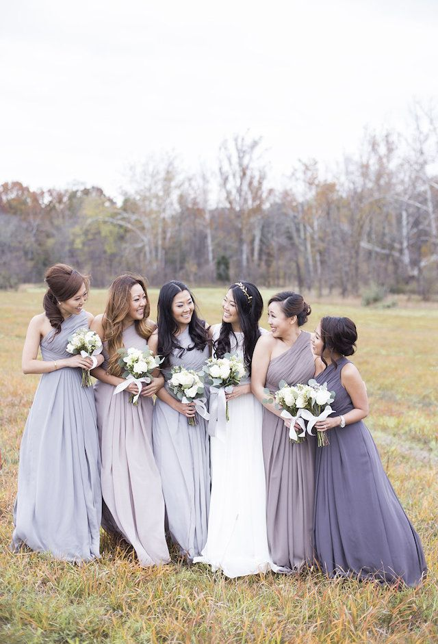 long, grey and violet bridesmaids gowns