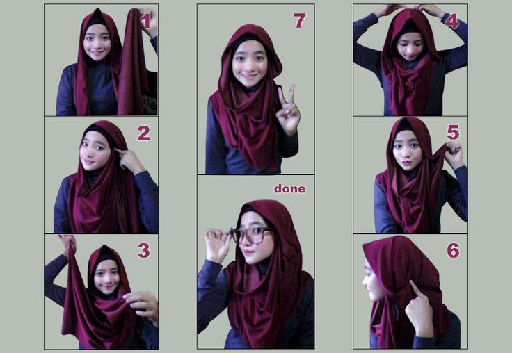 Image result for tutorial shawl untuk bercermin mata