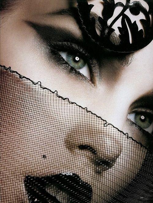 make-up-is-an-art:    Goth Looks in Harper's Bazaar Russia    I don't feel like she looks Goth. She just looks beautiful