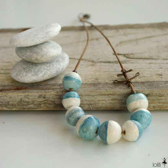 necklace inspired by sea, summer, seafoam and beach, unique for everyday, hues of ocean, copper anchor, leather cord, FREE SHIPPING