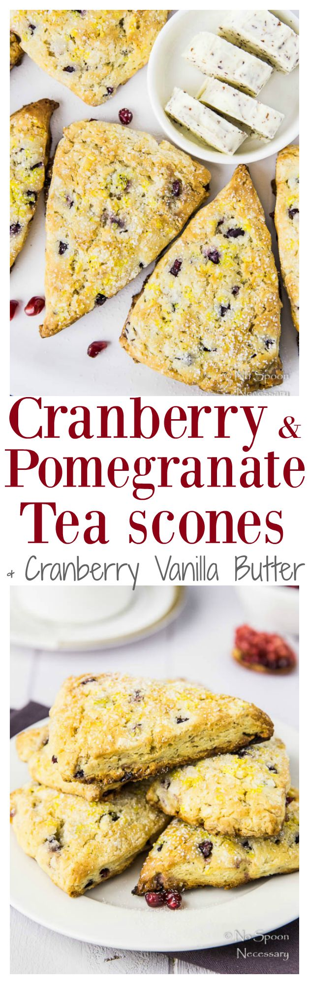 Cranberry & Pomegranate Tea Scones with Cranberry-Vanilla Butter. These Scones can be Prepared in Advance & are Perfect for the Holidays! #celestialseasonings #themagicoftea