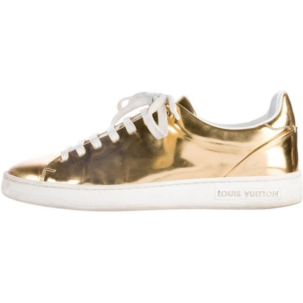 Pre-owned Louis Vuitton Metallic Leather Low-Top Sneakers ($345) ❤ liked on Polyvore featuring shoes, sneakers, gold, metallic gold shoes, leather lace up shoes, leather lace up sneakers, metallic gold sneakers and rubber sole shoes