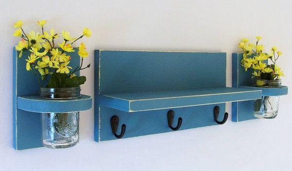 Shelf with Key Hooks and Wall Sconces   Three by LegacyStudio, $39.95