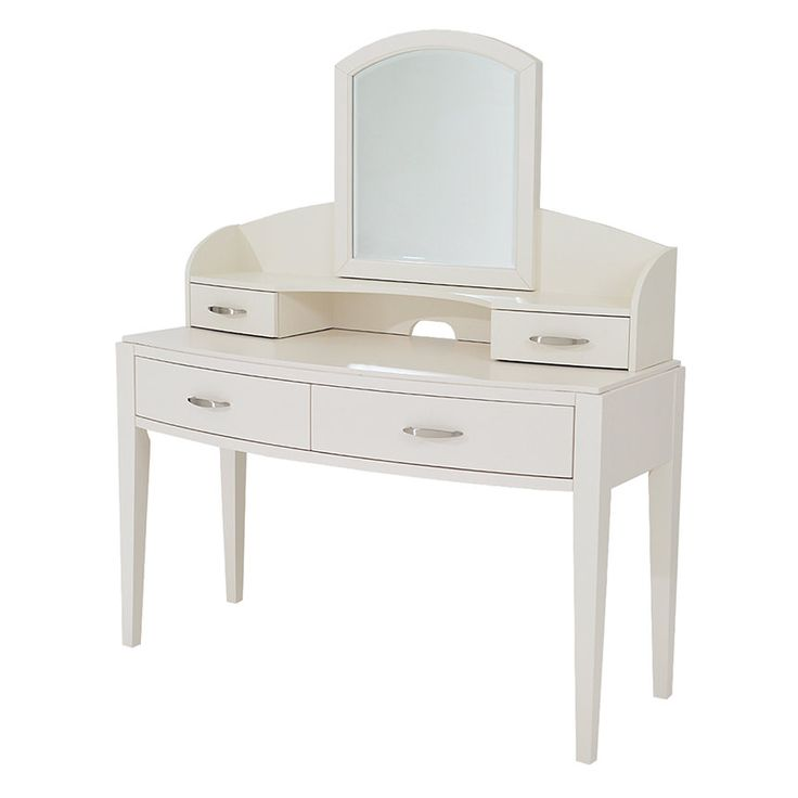 Avalon White Vanity Desk W/Mirror Main Image, 1 Of 8 Images.