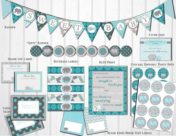 Gray teal elephant baby shower decorations printable for Baby shower decoration packages