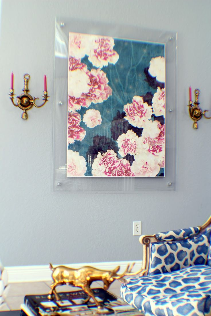 night peonies, lucite frame, acrylic frame, brass sconces, pink candles