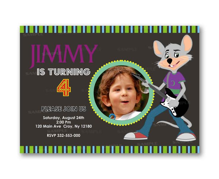 Chuck E Cheese Music Chalkboard Kids Birthday Invitation Party Design