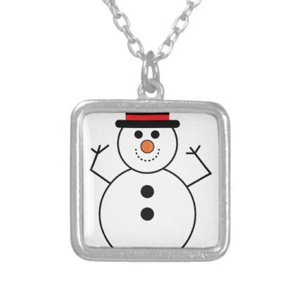 Snowman Cartoon Silver Plated Necklace - jewelry jewellery unique special diy gift present