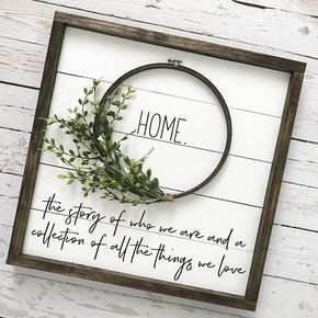 Fixer Upper fan? This shiplap wreath sign is calling your name! Such a unique way to add farmhouse charm, character and texture to your walls without the commitment of adding real planks to an entire room. The sweet home quote is a perfect way to tell your familys story and would make a great housewarming gift idea! Quote reads: Home. The story of who we are and a collection of all the things we love Handmade on high quality wood shiplap, distressed white and framed in a dark walnut finish…