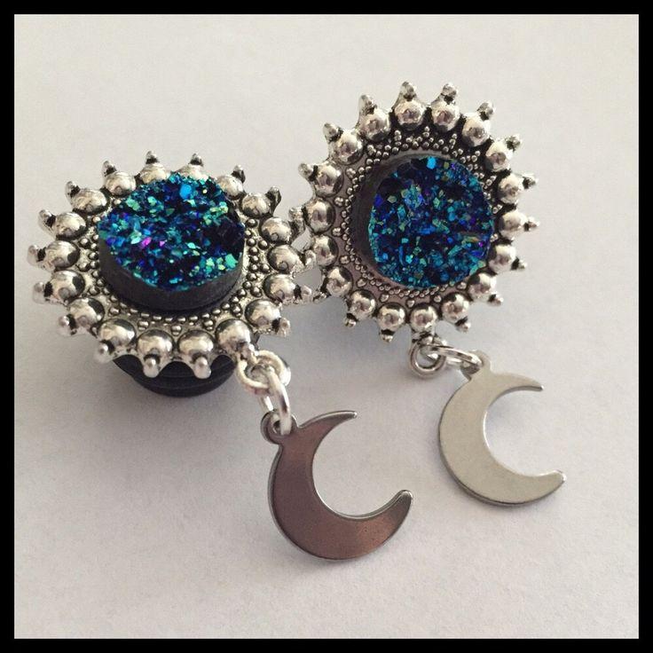 Pick size blue Druzy Cresent moon Dangle Girly Plugs by Lovekillsboutique on Etsy https://www.etsy.com/listing/164972049/pick-size-blue-druzy-cresent-moon-dangle