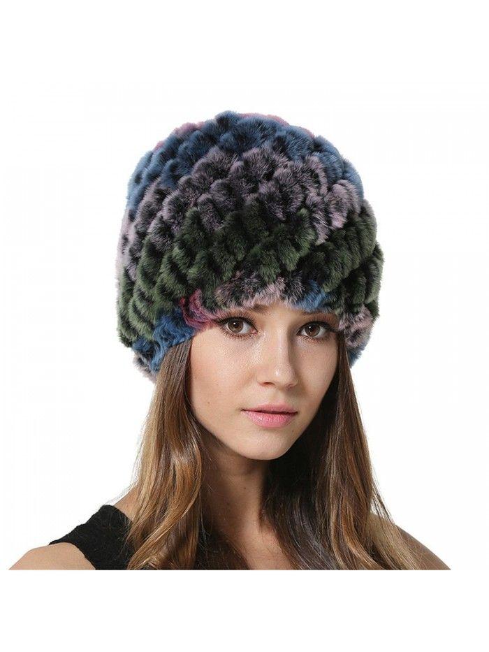 ad383201b9a959 Winter Beanie Warm Cap Womens Girls Real Rex Rabbit Fur Knitted Hat -  Multicolor4 - CQ17YTIUC5U - Hats & Caps, Women's Hats & Caps, Skullies &  Beanies ...