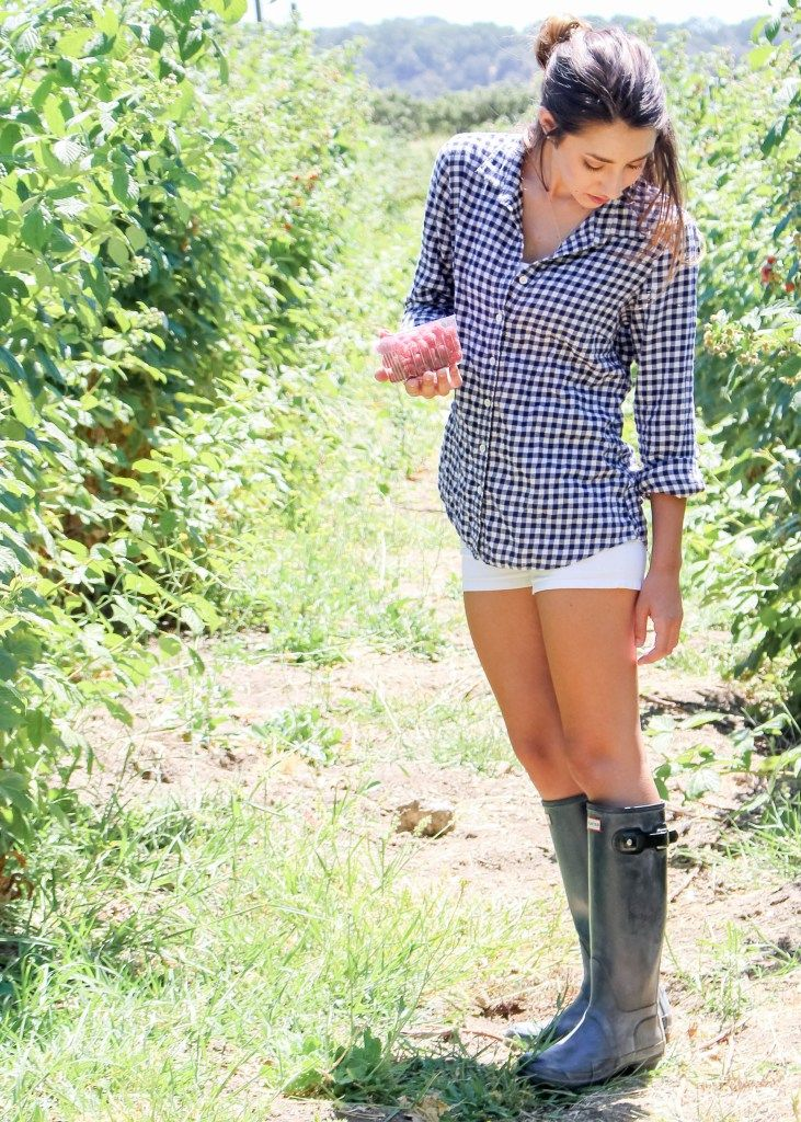 Raspberry Picking with Moo's Musing at Los Rios Ranchos Riley's Farm Oak Glen. J Crew Gingham Flannel Button Up with White shorts and Black hunter rain boots outfit inspiration