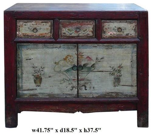 Antiguos chinos blanco rojo apenado mongoles consola mesas auxiliares y mesas de acento asiático