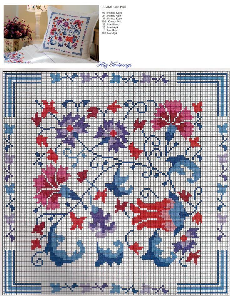 Yastık deseni de burada...Designed and stitched by Filiz Türkocağı