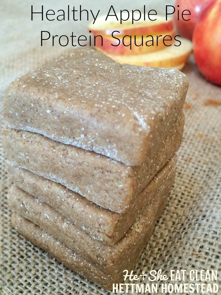 Not only do these protein bars taste just like apple pie, you only need 6 ingredients, one bowl, and 10 minutes to make them! Clean Eat Recipe: Apple Pie Protein Squares   He and She Eat Clean   Hettman Homestead
