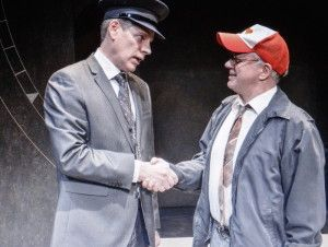 L to R: Bill Champion and Kim Wall in Alan Ayckbourn's Arrivals and Departures, part of Brits Off Broadway at 59E59th Theaters. Photo by Ant...
