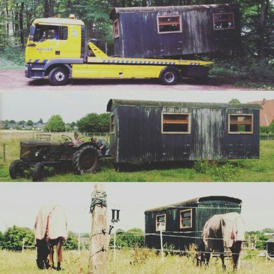 In de zomer werd de pipowagen naar de wei gebracht!
