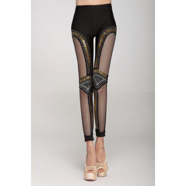 Punk Style Rhinestone Embellished Hollow Out Narrow Feet Skinny Leggings For Women, BLACK, 2XL in Leggings   DressLily.com
