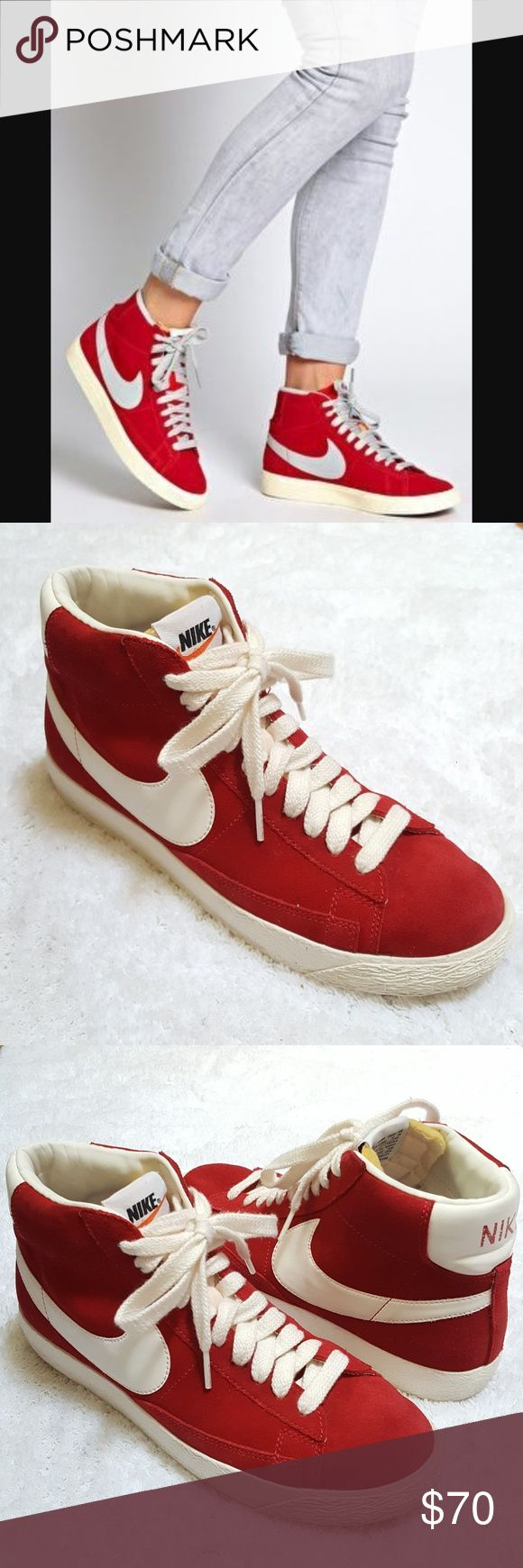 Nike Blazer x J. Crew Hi Tops Awesome apple red suede throw back hi tops. Collaboration between Nike and J. Crew. Men's 8 = Ladies 10. Nike Shoes Sneakers