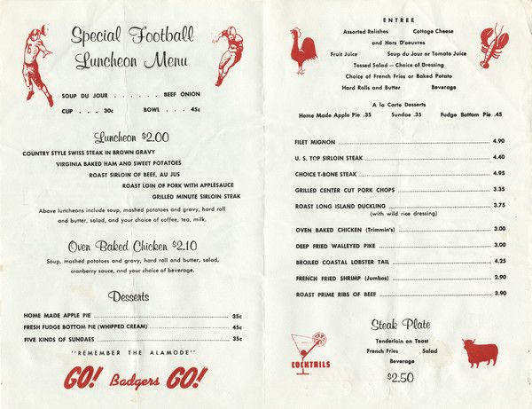 Interior of the Rohde's Steak House special football luncheon menu, with spot illustrations of football players in action, and featured items on the menu (a chicken, a lobster, a steer, and a martini). Menu from 1964. Image ID: 106410