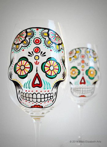 MaryElizabethArts - Sugar Skull Wine Glasses