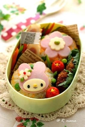 抜き型で簡単♪乙女系マイメロ弁当と作り方~キャラ弁~