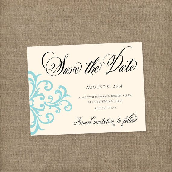 Vintage Damask Wedding Save the Date - Wedding Invitation