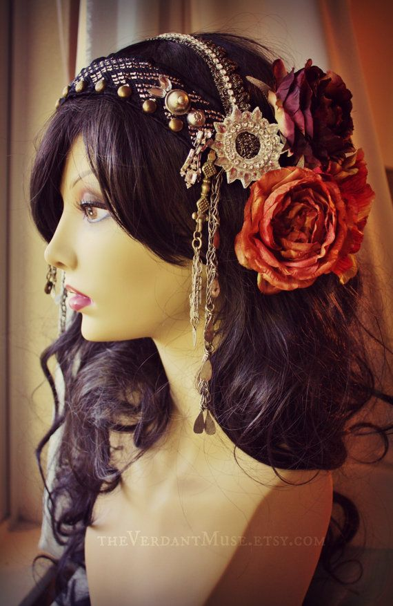 Assuit Headdress- Diamond Glitz - Assiut, Tribal Fusion Headpiece, Belly Dance, Tribal Bellydance, Vaudeville via Etsy