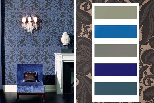Des teintes bleus et baroques pour cette palette déco de couleurs - 30 palettes de couleurs pour refaire votre déco - CôtéMaison.fr
