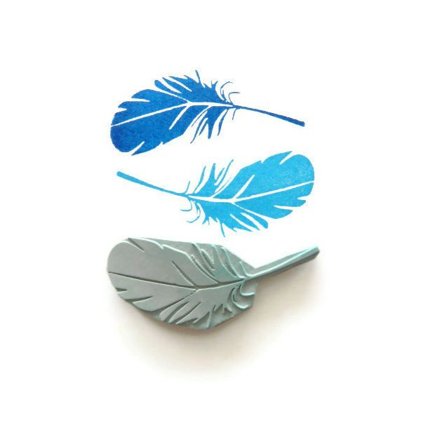 feather stamps pluma pajaro