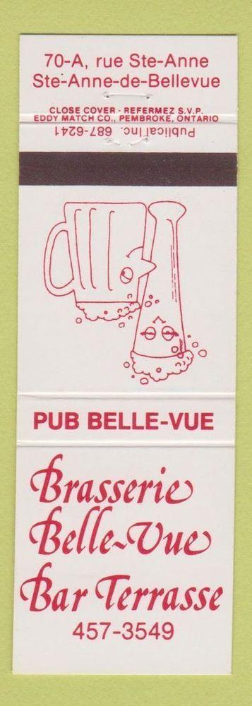 Matchbook Cover - Brasserie Belle Vue Bar Terrasse Ste Anne De Bellevue QC | eBay
