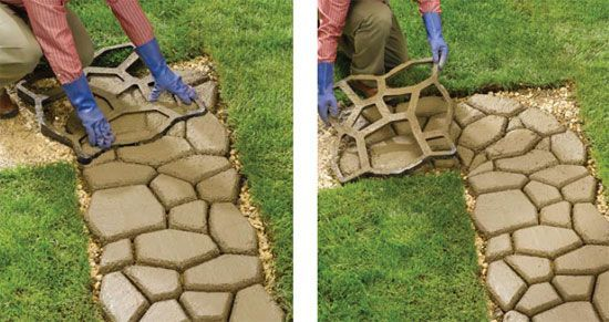 Create faux stone or brick paths on the cheap with concrete!