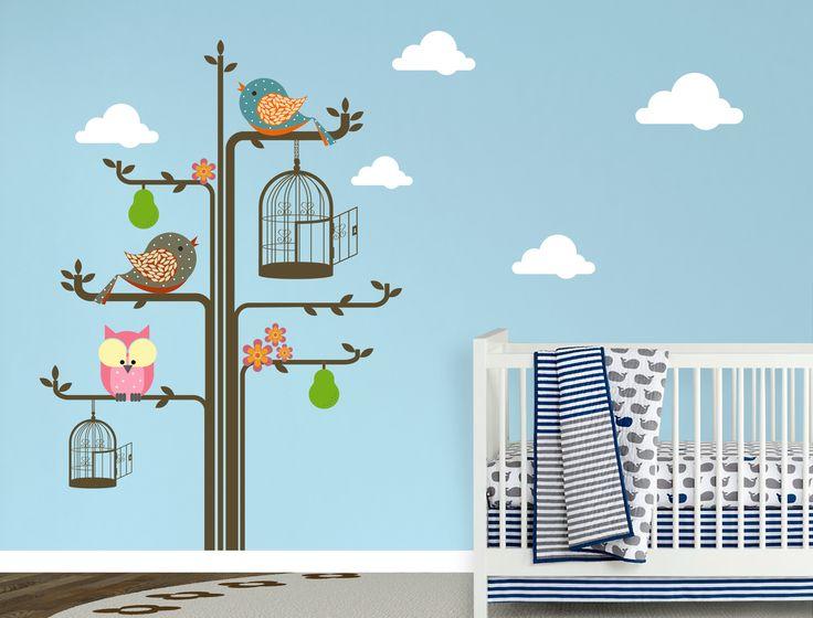 Desenli Kuşlar Baykuş Ağaç Ve Bulutlar Bebek Ve Çocuk Odası Renkli Duvar Sticker Fiyat: 134 TL
