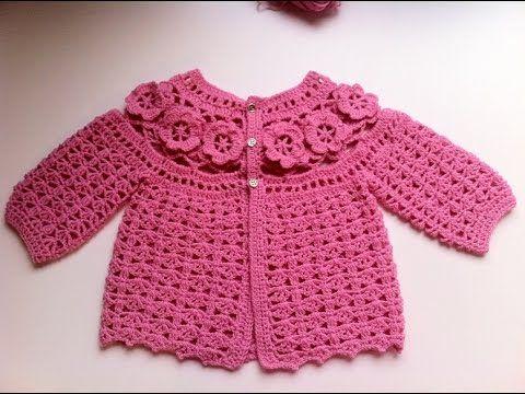 Brassière bébé à fleurs crochet 1 / baby sweaters flowers crochet 1 - YouTube