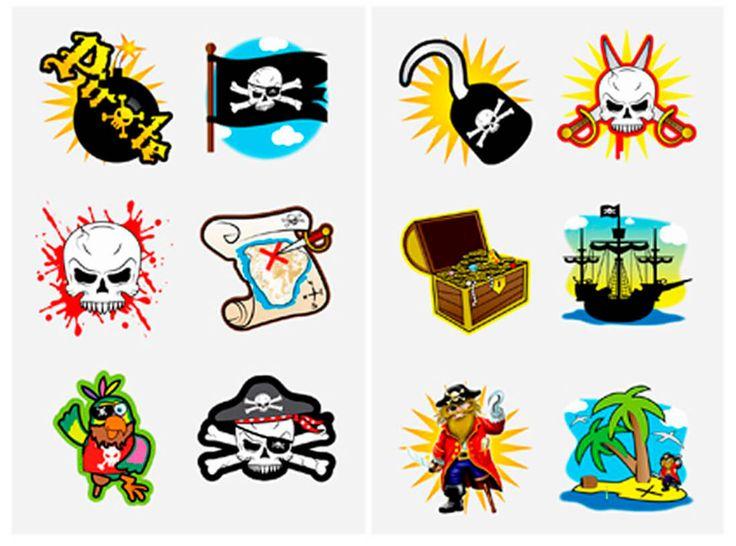 Små sjove og fine pirat tatoveringer til børn, når de skal klædes ud som små pirater til pirat fødselsdagsfest og piratfest for børn.