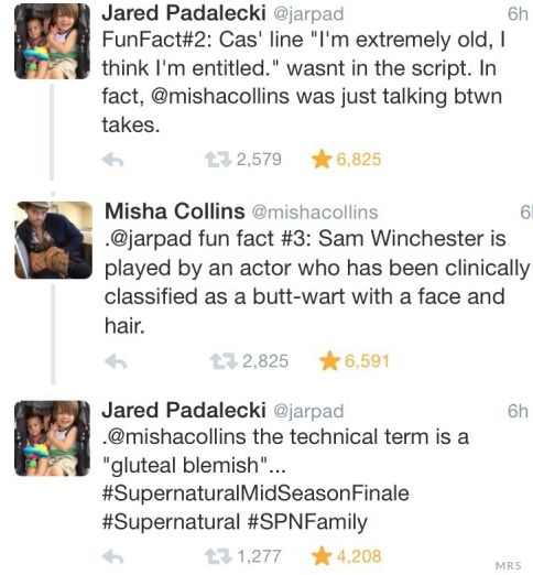 "Jared Padalecki and Misha Collins on Twitter during Supernatural 10x09 ""The Things We Left Behind"""