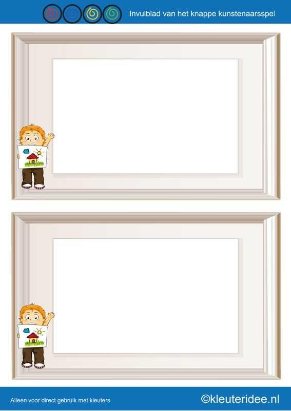 Invulblad Het knappe knustenaarsspel voor kleuters, Thema kunst, kleuteridee.nl , the handsome artists game for preschool, With English & Dutch gamerules free printable.