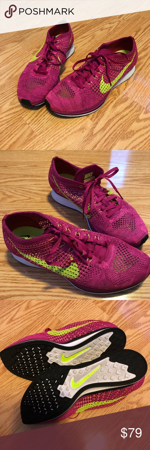 Nike Flyknit Racer Volt Pink/ Fireberry Preloved sneakers. They are in good condition, only worn three or four times. I wear a women's size 10.5 and these sneakers fit perfectly. No box.   Manufacturer Sku - 526628 607 Gender - Mens Colorway - FIREBERRY/VOLT-PINK FLASH Materials - Flyknit Nike Shoes Sneakers