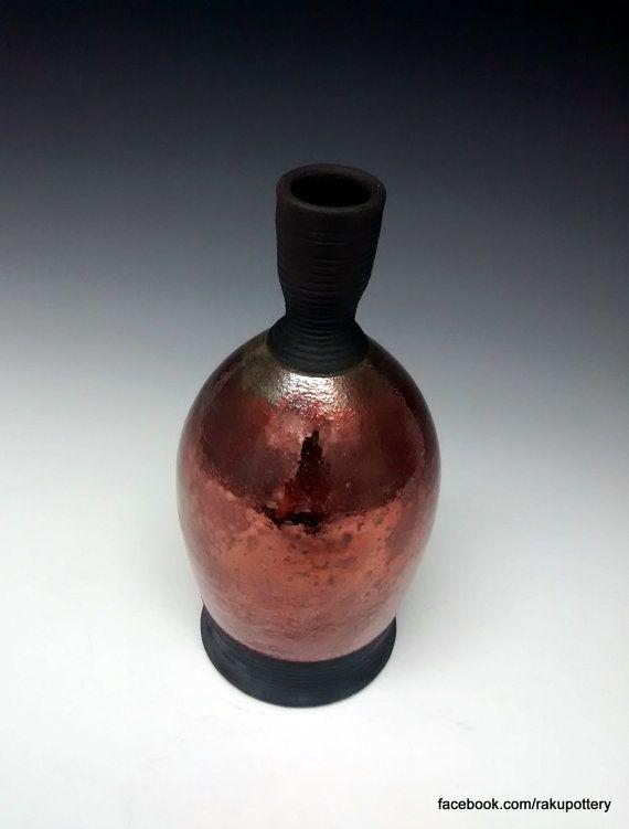 Raku Pottery  Handmade Vase  Ceramic Bottle by clayguyry on Etsy
