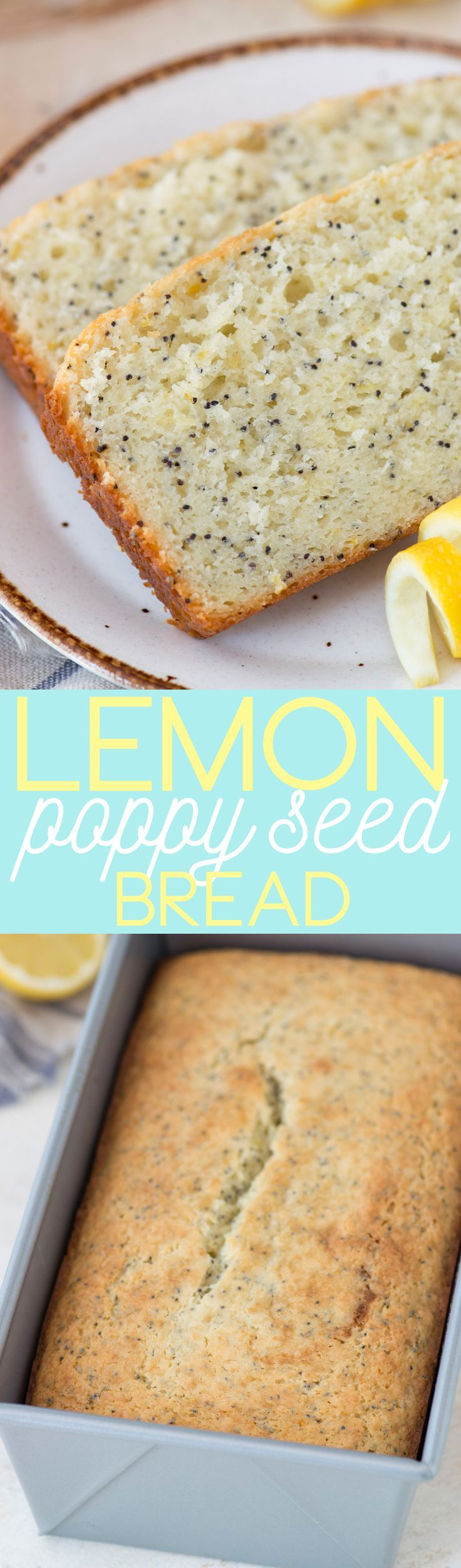 Easy lemon poppy seed bread recipe - 10 minutes to prep and less than an hour to bake! With option to add lemon glaze.